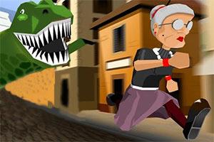 愤怒的老奶奶玩酷跑小游戏