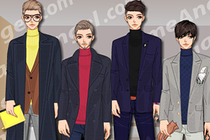 韩国男式高领毛衣