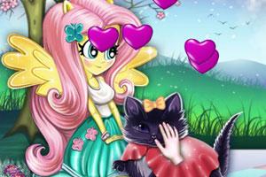 天马女孩照顾小猫